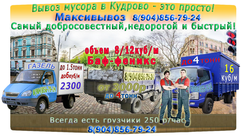 Недорогой вывоз мусора в Кудрово компанией Максивывоз