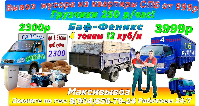 Вывоз мусора из квартиры с грузчиками недорого в СПб компанией